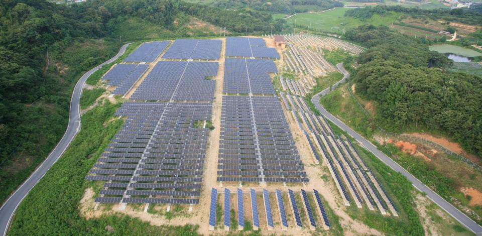 A photovoltaic system in Jeonju, South Korea.