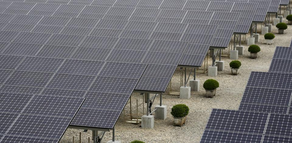 The solar panels at the Kyowa Industrial Co power station, Niigata, Japan.